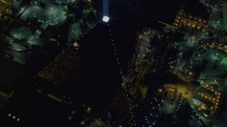 DCA03_142 - 4K stock footage aerial video of orbiting Luxor Hotel and Casino, Las Vegas, Nevada Night
