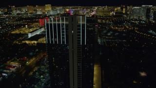 DCA03_155 - 4K stock footage aerial video of orbiting Palms Place Hotel and Spa, Las Vegas, Nevada Night