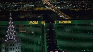 DCA03_160 - 4K stock footage aerial video of flying by MGM Grand, Las Vegas, Nevada Night