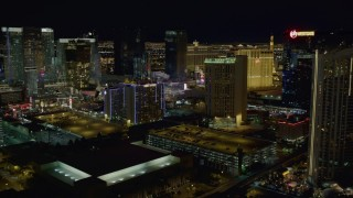 DCA03_166 - 4K stock footage aerial video of flying near hotels on Las Vegas Strip, Nevada Night