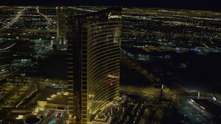 DCA03_172 - 4K stock footage aerial video of orbiting Encore, Las Vegas, Nevada Night
