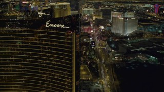 DCA03_173 - 4K stock footage aerial video of flying by Encore, revealing hotels along Las Vegas Boulevard, Nevada Night