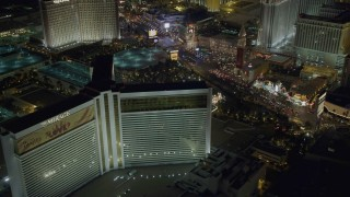 DCA03_176 - 4K stock footage aerial video of orbiting the Mirage Hotel and Casino, Las Vegas, Nevada Night