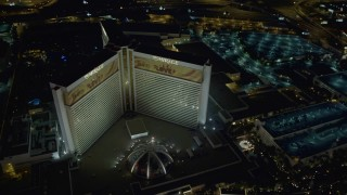 DCA03_182 - 4K stock footage aerial video of an orbit of the Mirage Hotel and Casino, Las Vegas, Nevada Night