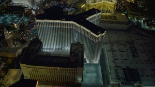 DCA03_185 - 4K stock footage aerial video of orbiting the back of The Venetian Resort and Casino, Las Vegas, Nevada Night