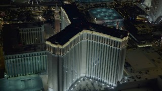 DCA03_186 - 4K stock footage aerial video of orbiting the back of The Venetian Resort and Casino, Las Vegas, Nevada Night