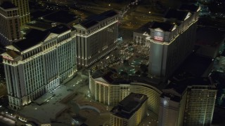 DCA03_191 - 4K stock footage aerial video of orbiting Caesar's Palace, Las Vegas, Nevada Night