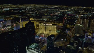 DCA03_197 - 4K stock footage aerial video of Planet Hollywood Resort and Casino, Las Vegas, Nevada Night