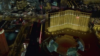 DCA03_200 - 4K stock footage aerial video orbit Planet Hollywood Towers Westgate and Resort and Casino, Las Vegas, Nevada Night