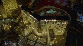 DCA03_202 - 4K stock footage aerial video of orbiting front of Planet Hollywood Resort and Casino, Las Vegas, Nevada Night