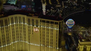 DCA03_206 - 4K stock footage aerial video of orbiting back of Planet Hollywood Resort and Casino, Las Vegas, Nevada Night