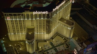 DCA03_207 - 4K stock footage aerial video of orbiting front of Planet Hollywood Resort and Casino, Las Vegas, Nevada Night