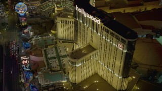DCA03_208 - 4K stock footage aerial video of orbiting Planet Hollywood Resort and Casino, Las Vegas, Nevada Night
