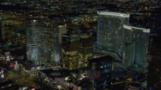DCA03_211 - 4K stock footage aerial video of approaching Aria, Veer Towers, Mandarin Oriental, Las Vegas, Nevada Night