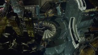 DCA03_212 - 4K stock footage aerial video of orbiting Aria and Veer Towers, Las Vegas, Nevada Night