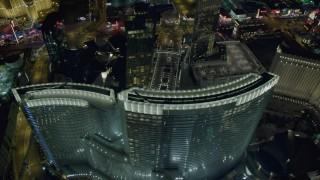 DCA03_213 - 4K stock footage aerial video of orbiting Aria Resort and Casino, Las Vegas, Nevada Night