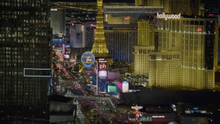 DCA03_215 - 4K stock footage aerial video of flying by Mandarin Oriental, revealing hotels on Las Vegas Boulevard, Nevada Night