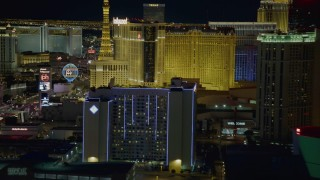 DCA03_216 - 4K stock footage aerial video of hotels on Las Vegas Strip, Nevada Night