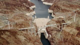 DCA04_005 - 4K stock footage aerial video hovering above the Hoover Dam, Boulder City, Nevada