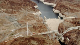 DCA04_007 - 4K stock footage aerial video of panning to Hoover Dam, Boulder City, Nevada