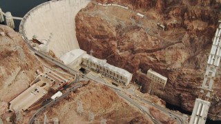 DCA04_008 - 4K stock footage aerial video of panning across Colorado River, revealing Hoover Dam, Boulder City, Nevada