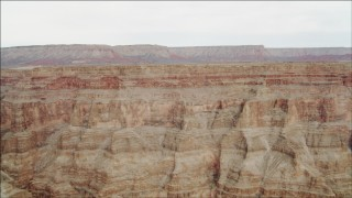 DCA04_034 - 4K stock footage aerial video of panning across jagged cliff faces in Grand Canyon, Arizona