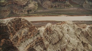 DCA04_044 - 4K stock footage aerial video of flying by a rock formation in Grand Canyon, Arizona