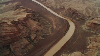 DCA04_051 - 4K stock footage aerial video of panning across the Colorado River to rock formations in Grand Canyon; Arizona