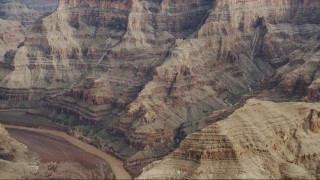 DCA04_055 - 4K stock footage aerial video of rock formations near Colorado River in Grand Canyon, Arizona
