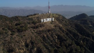 DCA05_006 - 4K stock footage aerial video of approaching the Hollywood Sign, Los Angeles, California