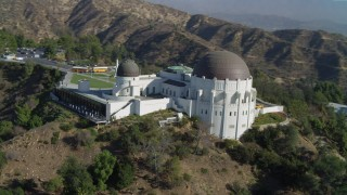 DCA05_013 - 4K stock footage aerial video of orbiting the Griffith Observatory, south side, Los Angeles, California