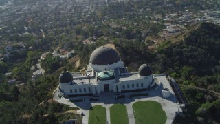 DCA05_014 - 4K stock footage aerial video of orbiting the Griffith Observatory, north side, Los Angeles, California