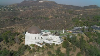 DCA05_017 - 4K stock footage aerial video of orbiting the Griffith Observatory, south side, Los Angeles, California