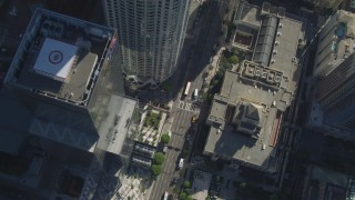 DCA05_029 - 4K stock footage aerial video of bird's eye view, Los Angeles Public Library to Downtown Los Angeles, California