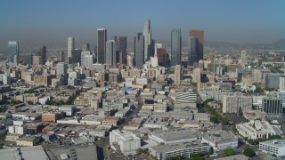 DCA05_030 - 4K stock footage aerial video of Downtown Los Angeles, East 4th Street and skyscrapers, California