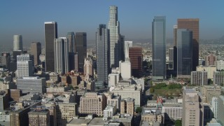 DCA05_032 - 4K stock footage aerial video of Gas Company Tower, US Bank Tower, Downtown Los Angeles, California