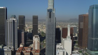 DCA05_033 - 4K stock footage aerial video of Gas Company Tower, Downtown Los Angeles Public Library, Los Angeles, California