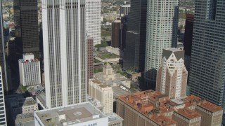 DCA05_034 - 4K stock footage aerial video of Los Angeles Public Library, Downtown skyscrapers, Los Angeles, California
