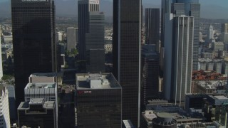 DCA05_035 - 4K stock footage aerial video of Figueroa at Wilshire, Paul Hastings Tower, Downtown Los Angeles, California