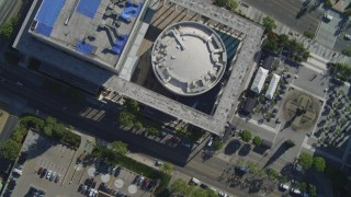 DCA05_037 - 4K stock footage aerial video of Mark Taper Forum, Downtown streets, fountain, pavilions, Los Angeles, California