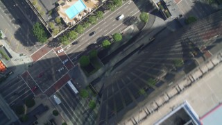 DCA05_044 - 4K stock footage aerial video of South Figueroa Street, Westin Bonaventure Hotel, Downtown Los Angeles, California