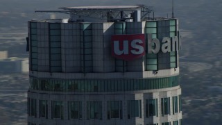 DCA05_048 - 4K stock footage aerial video of a close-up orbit of US Bank Tower, Downtown, Los Angeles, California