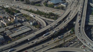 DCA05_050 - 4K stock footage aerial video of Interstate 110 and 10 interchange, Downtown Los Angeles, California