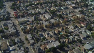 DCA05_053 - 4K stock footage aerial video of flying by Pico-Union, residential neighborhood, Los Angeles, California