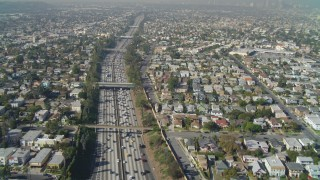 DCA05_056 - 4K stock footage aerial video of following Interstate 10 through Pico-Union, Los Angeles, California