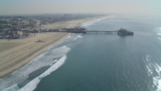 DCA05_083 - 4K stock footage aerial video of flying away from the Santa Monica Pier, Santa Monica, California