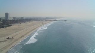 DCA05_084 - 4K stock footage aerial video of Santa Monica State Beach, Santa Monica Pier, Santa Monica, California