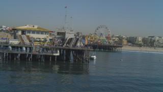 DCA05_093 - 4K stock footage aerial video orbit around the end of Santa Monica Pier, California