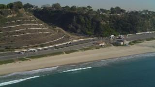 DCA05_096 - 4K stock footage aerial video of flying by Highway 1, coast, Santa Monica State Beach, Santa Monica, California