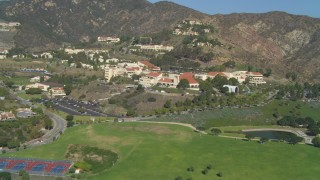 DCA05_123 - 4K stock footage aerial video of approaching Pepperdine University, Malibu, California